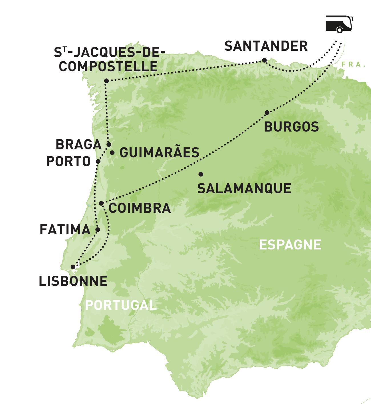 Portugal de St Jacques de Compostelle à Lisbonne, région Sud-Ouest