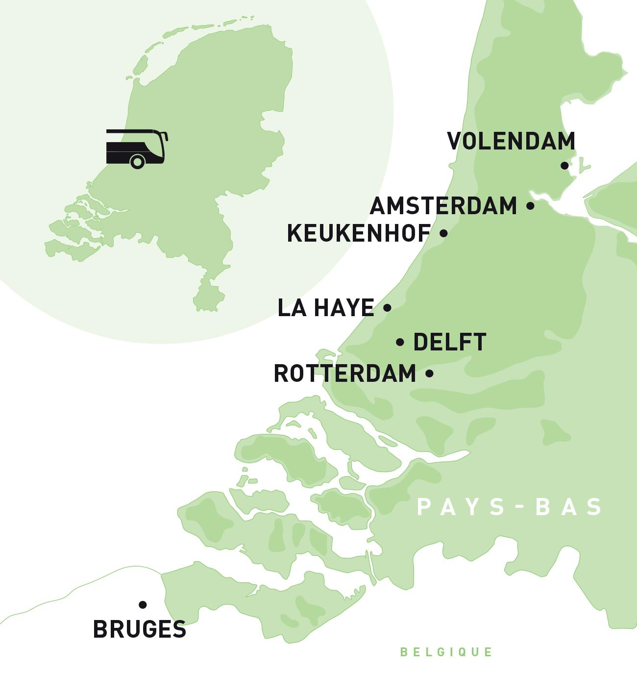 PAYS-BAS : Autocar Hollande et Bruges 6j/5n, Région Grand Ouest & Paris